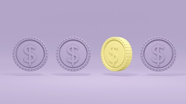 3d rendering moneta gialla che si distingue dalla folla altre monete sono un concetto viola di differenza
