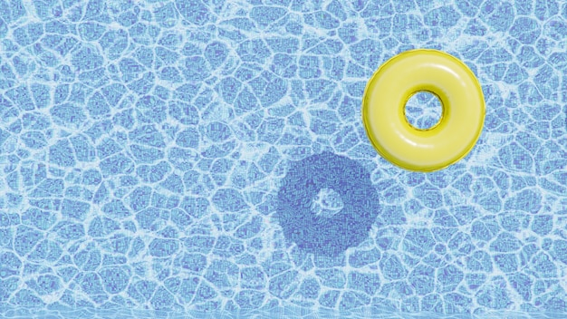 Rendering 3d. galleggiante giallo per piscina, anello galleggiante in una rinfrescante piscina blu