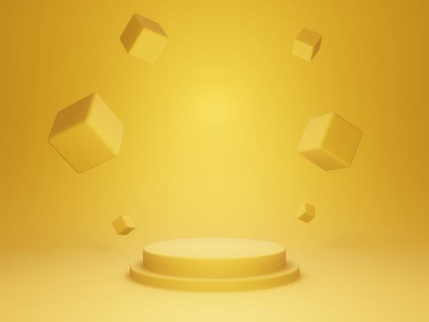 Rendering 3d. supporto prodotto giallo.