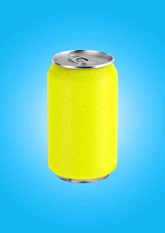 3d rendering lattina di soda gialla