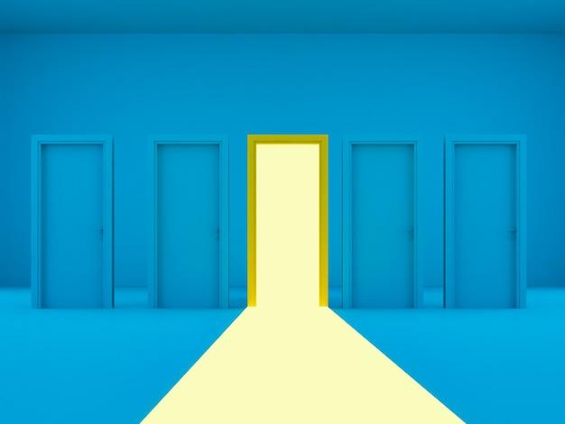 Rendering 3dottime porte a luce gialla aperte tra porte blu chiuse su sfondo blu