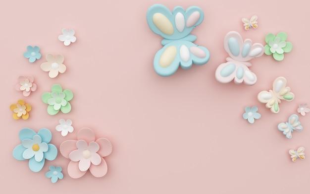 Rendering 3d di sfondo rosa astratto con decorazioni di fiori e farfalle