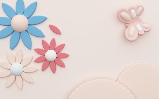 Rendering 3d di sfondo rosa astratto con fiori di gelsomino e decorazioni a farfalla