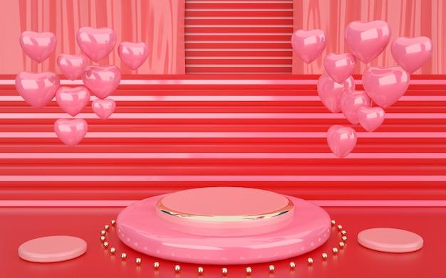 Rendering 3d di rosa geometrico con cuori decorativi e podio per l'esposizione di un prodotto