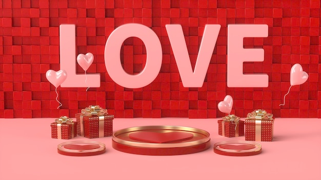 Rendering 3d di romantico rosso con podio dorato e confezione regalo