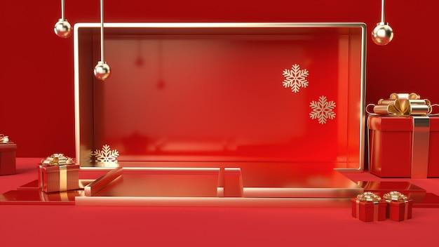 Rendering 3d di romantico rosso con piattaforma e confezione regalo