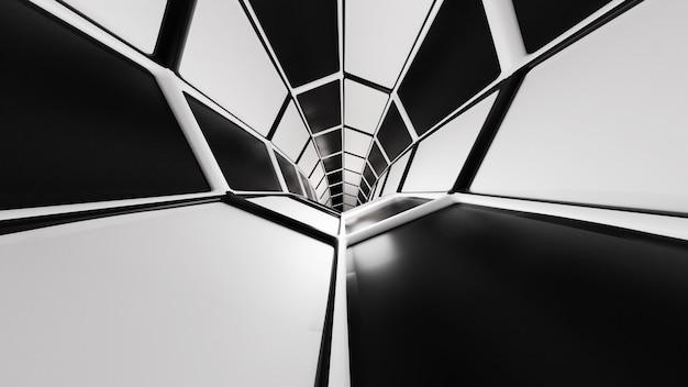 Rendering 3d tunnel di fantascienza in bianco e nero astratto sfondo scuro