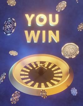 Roulette 3d con illustrazione di chip di poker dinamico, vinci testo 3d, sfondo gettoni casinò
