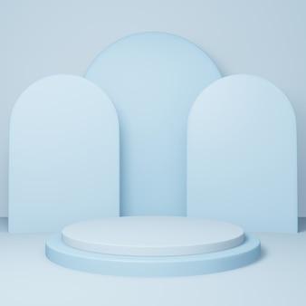 Podio rotondo 3d o piedistallo con sala studio vuota blu, sfondo del prodotto minimo, modello mock up per la visualizzazione, forma geometrica