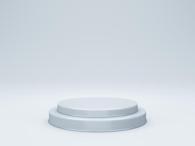 Podio rotondo 3d o piedistallo con sala studio vuota, sfondo del prodotto minimo, modello mock up per la visualizzazione, forma geometrica