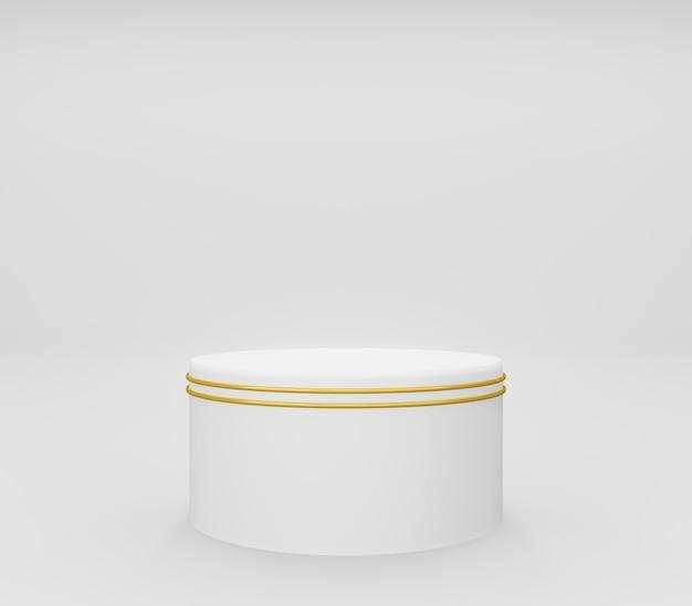 Podio rotondo 3d o piedistallo con anelli d'oro, stanza studio vuota bianca, sfondo del prodotto minimo, modello mock up per esposizione cosmetica, forma geometrica, concetto di lusso