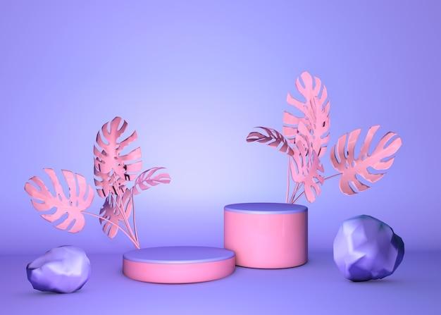 Podio rotondo 3d, stare su sfondo pastello del muro viola viola con palme tropicali rosa. vetrina per prodotti cosmetici