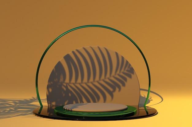 Podio rotondo 3d con piedistallo vuoto con ombra di palma per la presentazione del prodotto mockup forma geometrica
