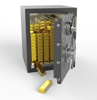 Cassetta di sicurezza 3d con oro
