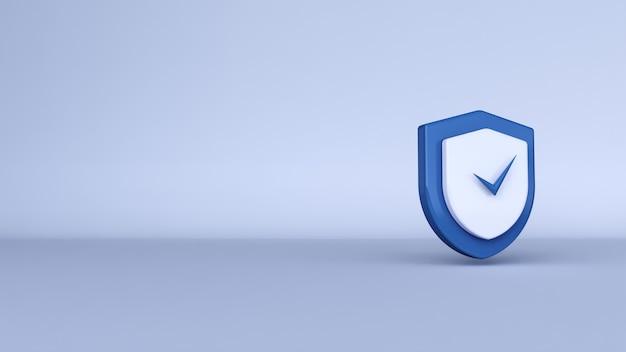 Icona di sicurezza di sicurezza 3d rendering 3d con spazio di copia