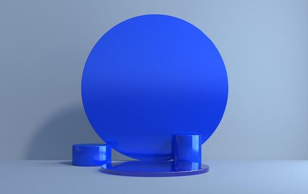 Scena 3d di cilindri per la dimostrazione del prodotto su sfondo blu, rendering 3d