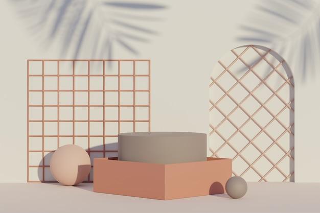 Scena 3d di display podio per mock up e presentazione di prodotti con sfondo tono terra minimo
