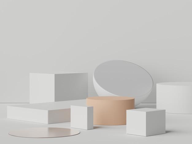 Scena 3d di display podio per mock up e presentazione di prodotti con sfondo tono terra minimo.