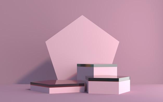 Scena 3d da esagoni per la dimostrazione del prodotto nei colori rosa, rendering 3d