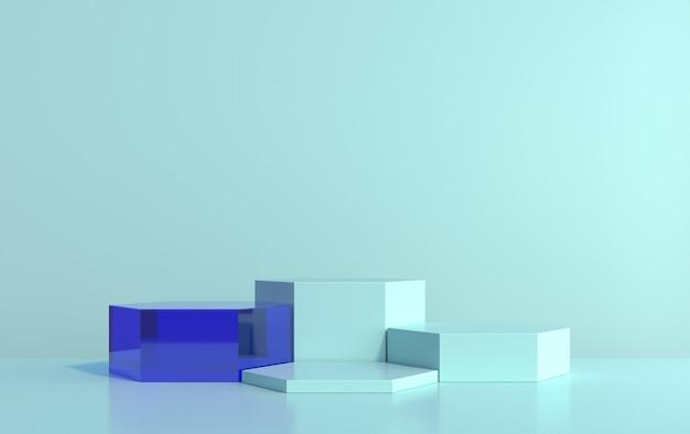 Scena 3d di esagoni per la dimostrazione del prodotto su sfondo blu, rendering 3d