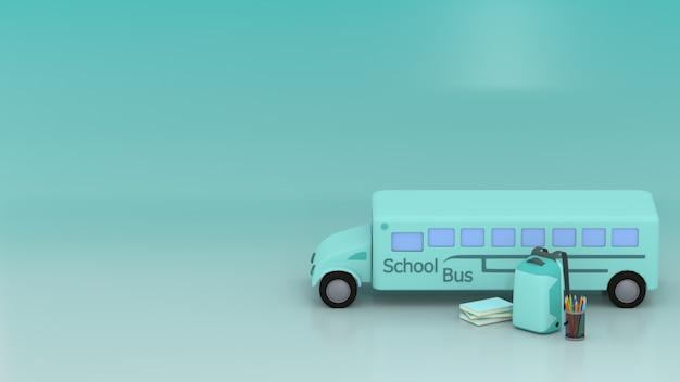Scuolabus 3d, zainetto, matite, matite colorate e libri con spazio ciano