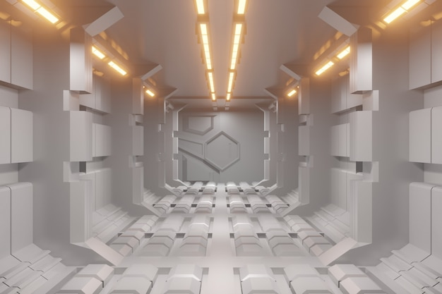 Fondo futuristico del corridoio di fantascienza 3d con la luce di yelloe.