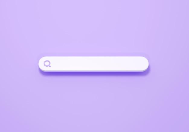 Icona della barra di ricerca 3d minima su sfondo viola. rendering 3d del concetto della barra di ricerca per il design ux/ui del browser