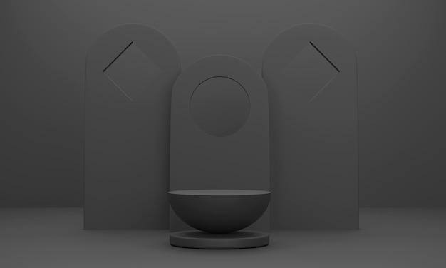 Podio semicircolare 3d per la visualizzazione di prodotti aziendali con sfondo invece di una sala studio nera