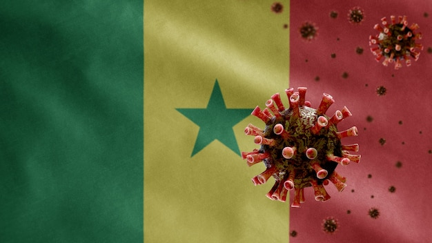 3d, bandiera senegalese sventolante e concetto di coronavirus 2019 ncov. focolaio asiatico in senegal, coronavirus influenza come casi di ceppo influenzale pericolosi come una pandemia. virus del microscopio covid 19