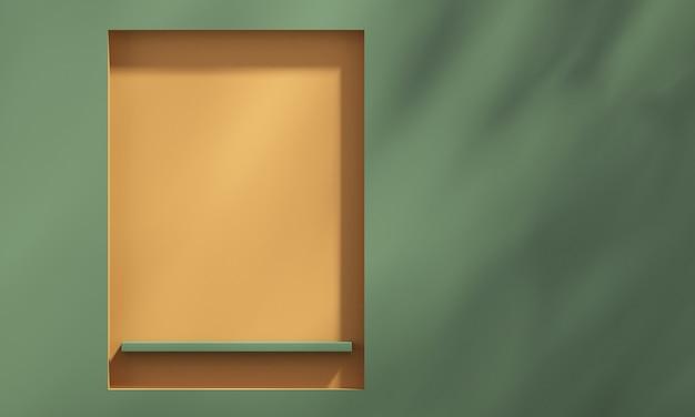 Mensola 3d sulla parete con ombra dell'albero su sfondo verde e arancione, sfondo mockup prodotto estivo, illustrazione rendering 3d