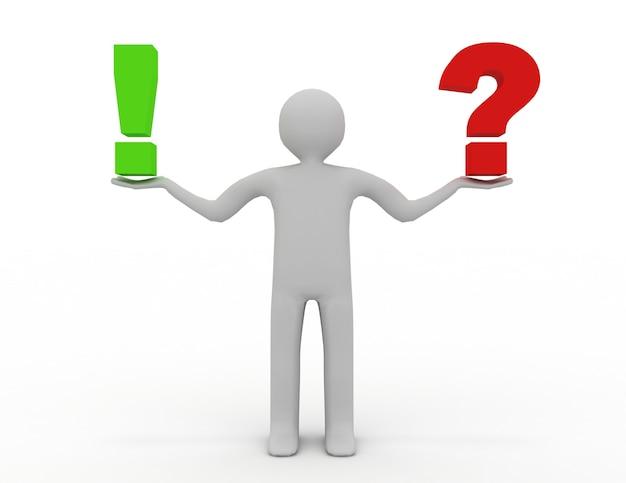 Piccola persona 3d con un punto esclamativo e un punto interrogativo. 3d reso illustrazione