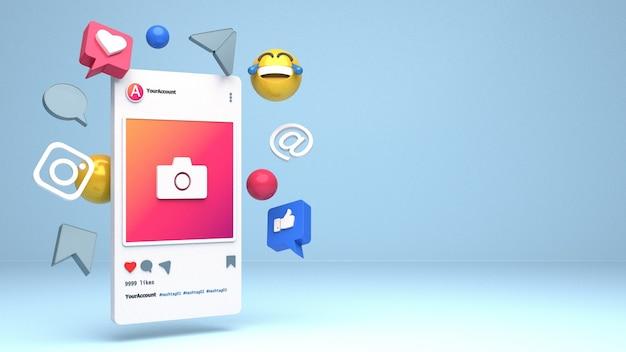 Progettazione dell'illustrazione dello smartphone 3d per i profili di instagram con lo spazio della copia
