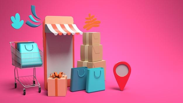 Progettazione di illustrazione di smartphone 3d per marketing e acquisti online con spazio di copia