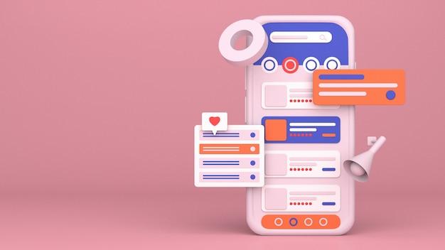 Progettazione dell'illustrazione dello smartphone 3d per il marketing online con spazio di copia
