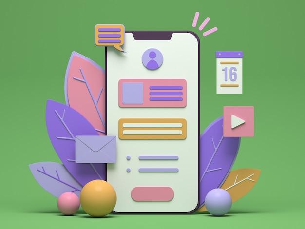 Progettazione dell'illustrazione dello smartphone 3d per il marketing online