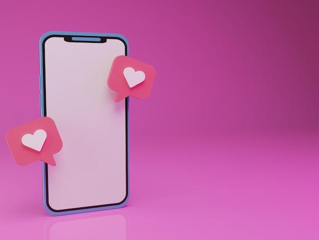 Smartphone 3d con emoticon d'amore fluttuante su sfondo rosa
