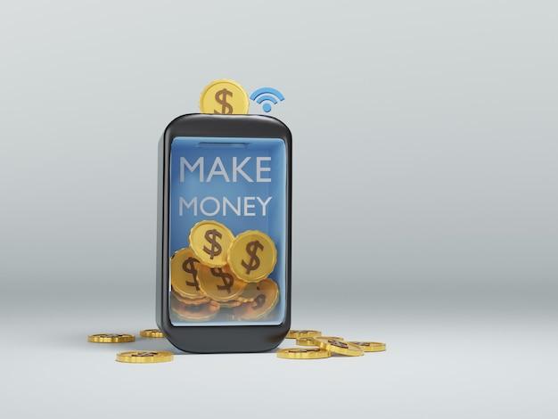 Smartphone 3d con fare soldi concetto