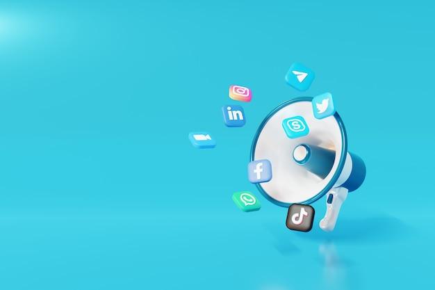 3d social media marketing digitale megapahone con sfondo blu