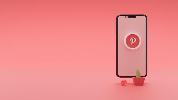 Icona 3d dei social media logo pinterest sullo schermo dell'iphone di apple