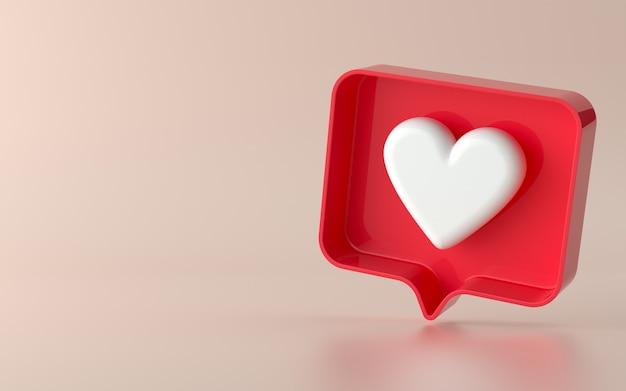 I social media 3d come l'illustrazione dell'icona di notifica in 3d