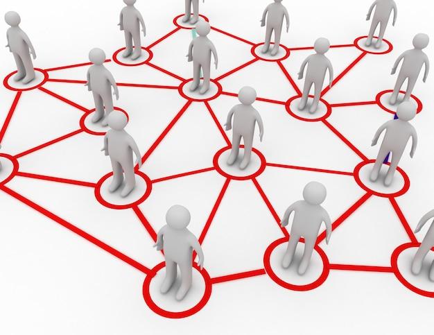 Concetto di successo della rete sociale 3d. 3d reso illustrazione