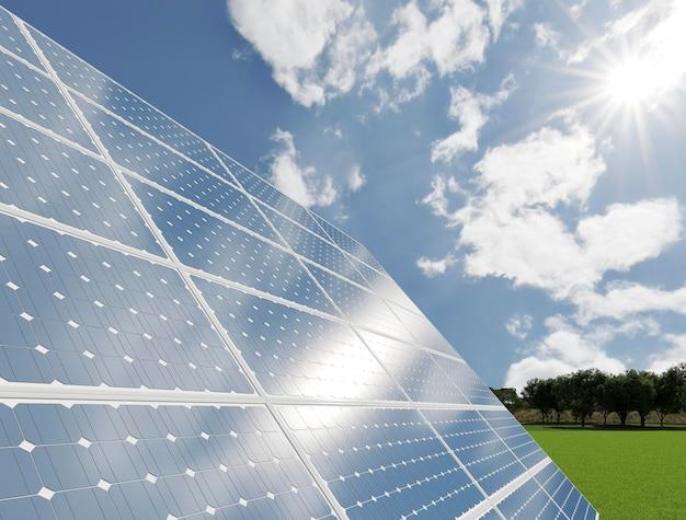 Progetto pannelli solari 3d per il risparmio energetico Foto Premium