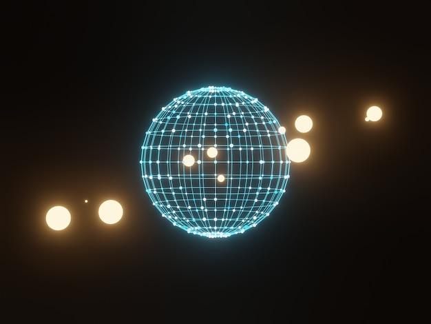 Particelle di griglia sfera 3d. priorità bassa astratta di scienza.
