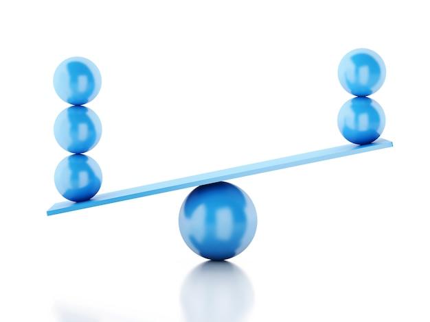 Sfere 3d che equilibrano su un movimento alternato.