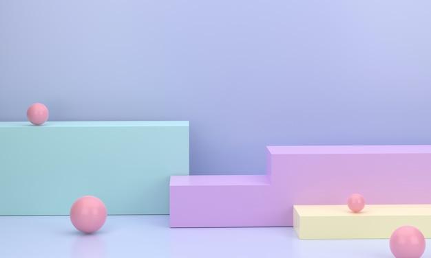 Podio quadrato 3d in uno studio minimale basato su colori pastello per la visualizzazione di prodotti aziendali