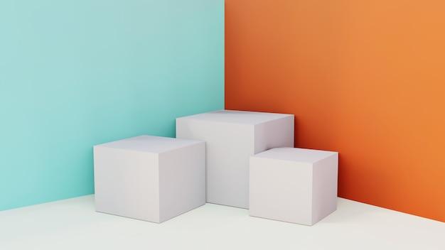 Showroom di scatole di stand 3d