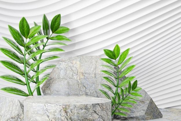 Podio di pietra 3d con la pianta della foglia verde sul fondo bianco dell'onda della curva. rendering dell'illustrazione 3d.