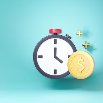 3d cronometro timer con moneta dollaro d'oro. rendering di illustrazioni 3d