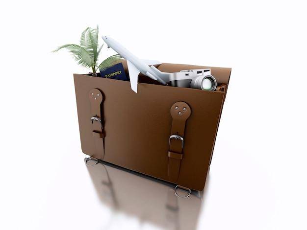 Valigia 3d aperta con le cose di viaggio. concetto di viaggio