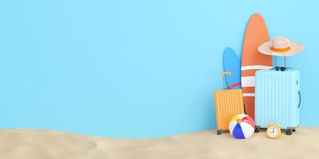 Illustrazione estiva 3d di valigia, tavola da surf e accessori da viaggio.